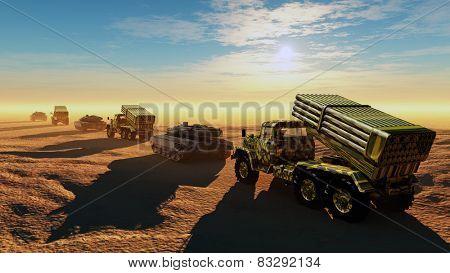 Column of military equipment in the desert.