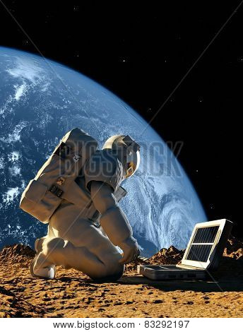 Astronaut with the device on the planet.
