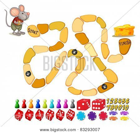 Illustration of a boardgame template with a mouse