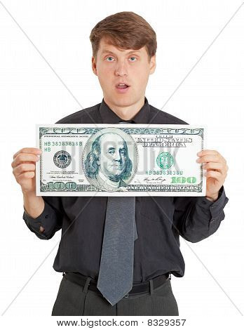 Funny Stupid Man Holding A Big Money