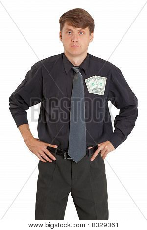 Man With Money Sticking Out Of Pocket