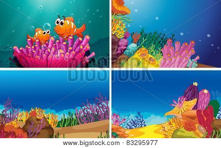 Illustration of four scenes of underwater