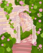 picture of stone house  - Illustration of overgrown stone house - JPG