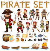 foto of pirate sword  - Illustration of a set of pirate and sails - JPG