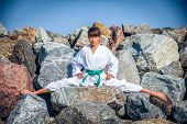image of karate-do  - Young girl training karate  - JPG
