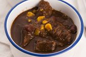 pic of stew pot  - Tasty winter traditional hot pot stew with meat and vegetables - JPG