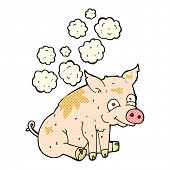 image of smelly  - retro comic book style cartoon smelly pig - JPG