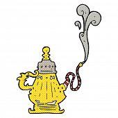 picture of hookah  - retro comic book style cartoon smoking hookah - JPG