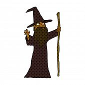 picture of clip-art staff  - retro comic book style cartoon spooky wizard - JPG