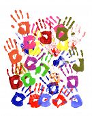 picture of messy  - Messy or untidy pattern of child handprints made from vivid acrylic paint isolated on a white paper background - JPG