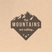 foto of mountain-range  - Mountain label with type design in vintage style - JPG