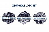 image of bosoms  - Detailed hand drawn zentangle logo set for yoga studio - JPG