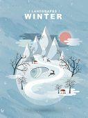 pic of paysage  - elegant frozen winter landscape in flat design - JPG