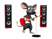 picture of singing  - A cute smiling cartoon mouse singing in microphone and playing on an electric guitar - JPG