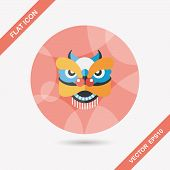 image of dragon head  - Chinese New Year Flat Icon With Long Shadow - JPG
