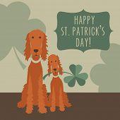 picture of irish  - St Patricks Day card design with Irish Setters and Shamrocks - JPG