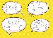 image of broken heart flower  - Set of relationship symbols in dialog bubbles over yellow - JPG