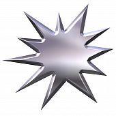 picture of starburst  - 3d silver starburst that is isolated in white - JPG