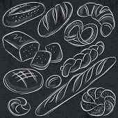 picture of baps  - set of different breads on blackboard vector - JPG
