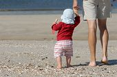 foto of father daughter  - young father with his daughter on the island sylt germany - JPG