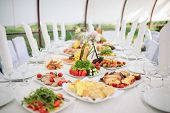stock photo of banquet  - Catering and banquet during a wedding ceremony - JPG