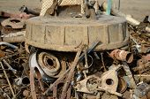 stock photo of scrap-iron  - electro magnetic  pull scrap in  recycling center - JPG