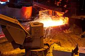 picture of blast-furnace  - Pouring of liquid metal from blast furnace - JPG