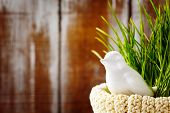 stock photo of grass bird  - Easter background with and cute white porcelain bird in green grass in the nest - JPG