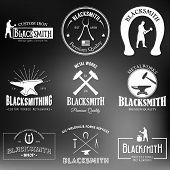 pic of blacksmith shop  - Set of monochrome vintage blacksmith labels and design elements on a blurred background - JPG