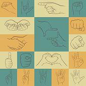picture of interpreter  - Set of hand gestures icons in different interpretations - JPG