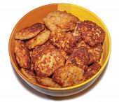stock photo of pork cutlet  - a lot of fried pork cutlets in a dish - JPG