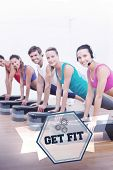 foto of step aerobics  - The word get fit and fitness class doing step aerobics exercise against hexagon - JPG