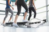 stock photo of step aerobics  - The word join now - JPG