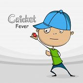 stock photo of cricket ball  - Funny cartoon holding red ball for Cricket sports concept - JPG