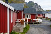 picture of lofoten  - red wooden house at the Lofoten archipelago norway - JPG