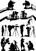 stock photo of jimmy  - High detail illustrations of various cameraman silhouettes - JPG