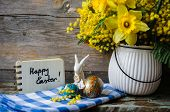 foto of easter eggs bunny  - Easter time spring flowers easter eggs and easter bunny - JPG