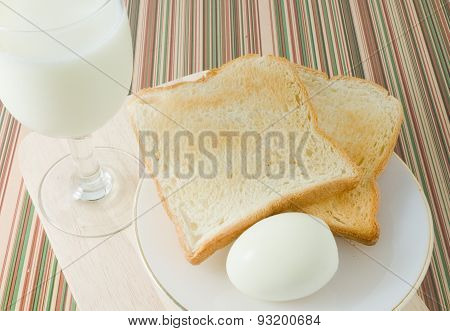 Morning Toast With Boiled Eggs And Milk