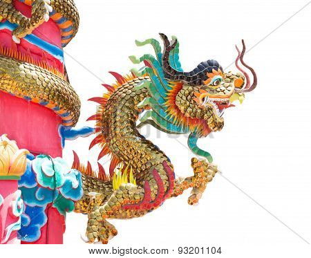 Golden Dragon Statue On Pole, Thailand, Dragon Prominently In The Beautiful On White Background