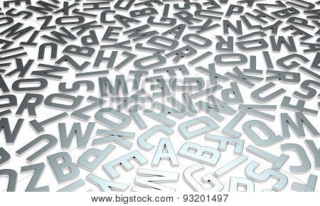 silver letters on white background