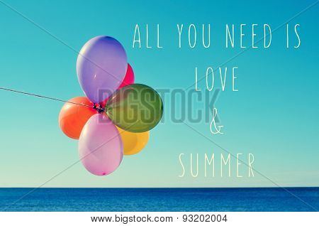 a bunch of balloons of different colors against the blue sky with the sea in the background and the text all you need is love and summer