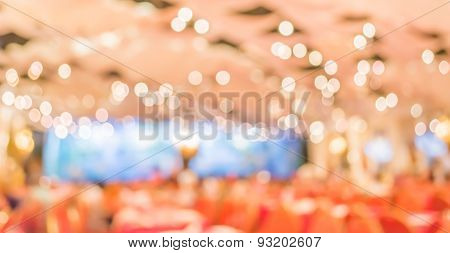 Blur Image Of Party Hall Stage Set For Background Usage.