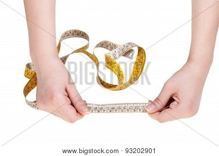Female Hands With Measuring Tape Line Isolated