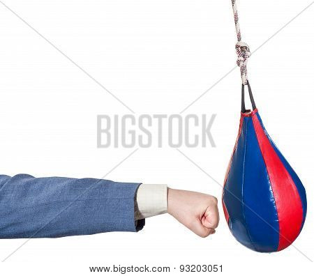 Businessman Punches Punching Bag Isolated