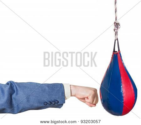 Businessman Hits Punching Bag Isolated