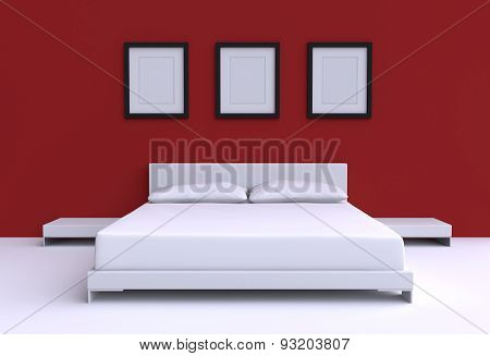 Modern Bed With Two Pillows, Tables And Three Picture Frame From The Walls Of The Room. 3D Illustrat