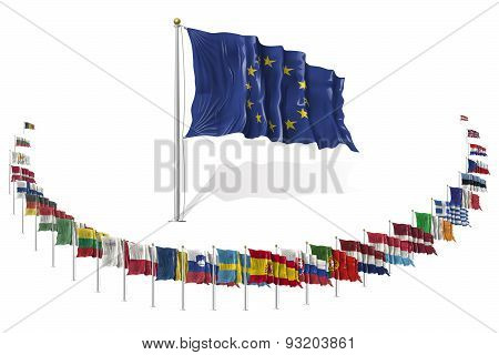 World Flags Icon Set Collection - European Union States / Countries In Vector - 2015