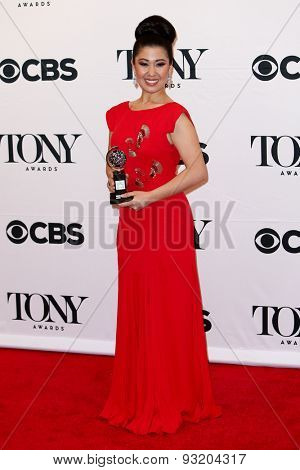 NEW YORK-JUN 7: Actress Ruthie Ann Miiles holds the trophy at the American Theatre Wing's 69th Annual Tony Awards at Radio City Music Hall on June 7, 2015 in New York City.