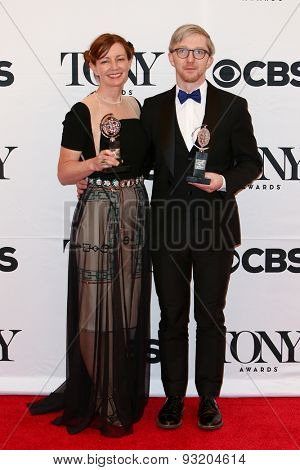 NEW YORK-JUN 7: Bunny Christie (L) and Finn Ross hold the trophy at the American Theatre Wing's 69th Annual Tony Awards at Radio City Music Hall on June 7, 2015 in New York City.