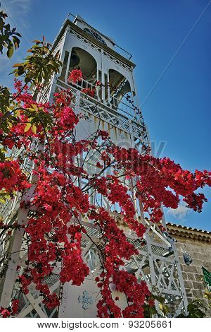 Belfry of the Church with Spring Flowers in Lefkada